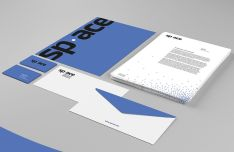Blue and White Branding & Stationery Mockups PSD