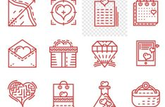 12 Valentine's day Line Vector Icons