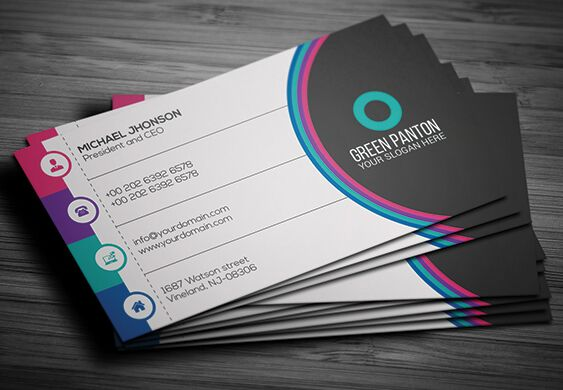 Free flat colorful corporate business card template vector titanui flat colorful corporate business card template vector accmission Images