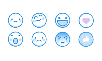 Kawaii Facebook Emoji Icons Vector
