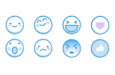 Kawaii Facebook Emoji Icons Vector
