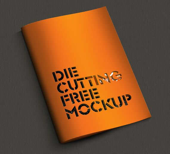 Die Cutting Brochure Mockup PSD