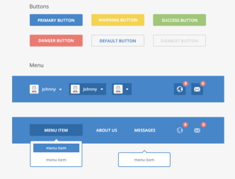 Flat Social UI Kit PSD