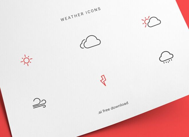 Neat Weather Line Icons Vector