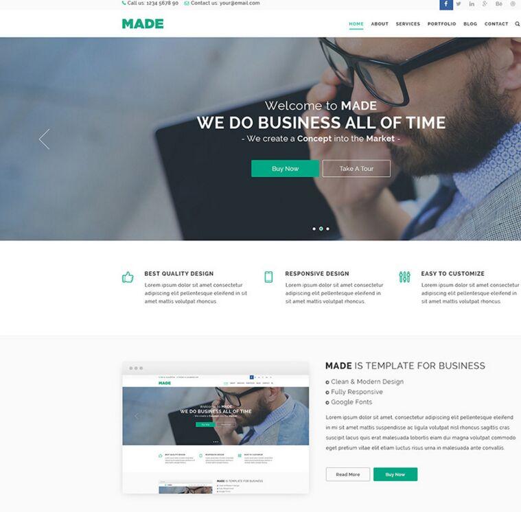 Free Business Web Template Psd: Free MADE Business Website Template PSD