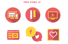 Flat Circle Web Icon Set Vector
