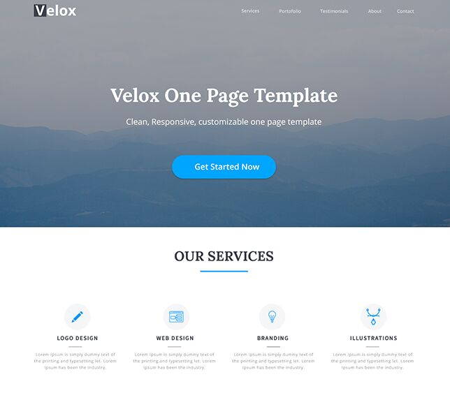 Velox One Page Template PSD