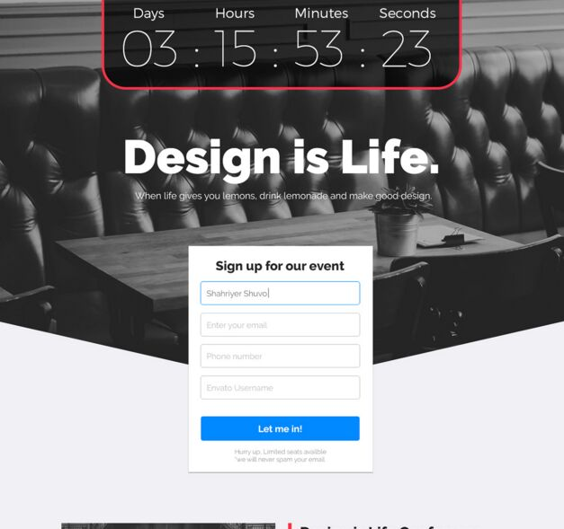 Evenire Lite Event Landing Page Template PSD