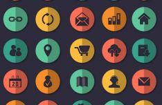 25 Flat Circle Web Icons