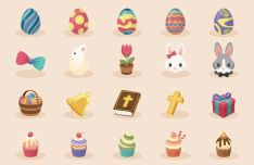 20 Colorful Easter Icons Vector