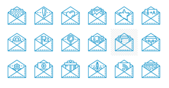 18 Email & Envelope Line Icons Vector