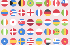 Flat Round Flag Icons PSD