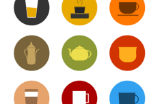 Flat Round & Square Drinks Icons Vector