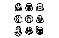 9 Star Wars icons Vector