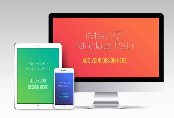 Apple Devices Mockup (iPhone iPad And iMac)