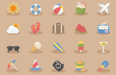 20 Summer Vacation Time Icons Vector