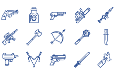 15 Weapon Vector Icons