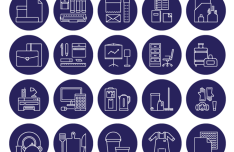 20+ Round Office Icons Vector