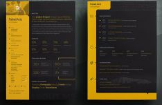Black Yellow Personal Resume PSD Template