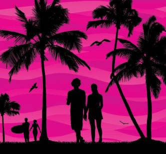 Couples In Summer Vector Silhouette