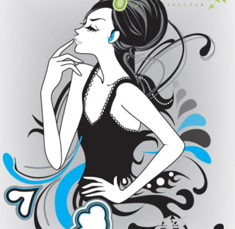 Modern Floral Girl Vector Illustration