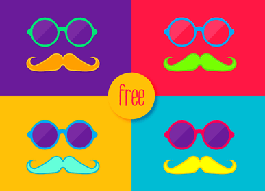 Funky Mustache Pack Vector
