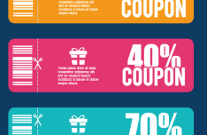 3 Flat Rounded Coupons Vector