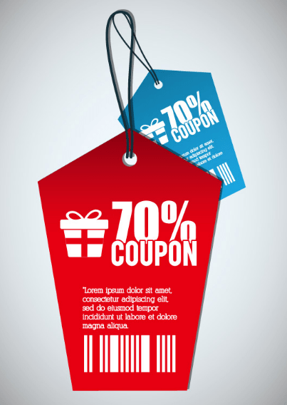 Red  Blue Coupon Tags Vector