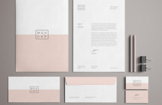High Solution Pink Branding Stationery Mockup PSD