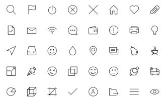 40 Pixel Perfect Line Icons Vector
