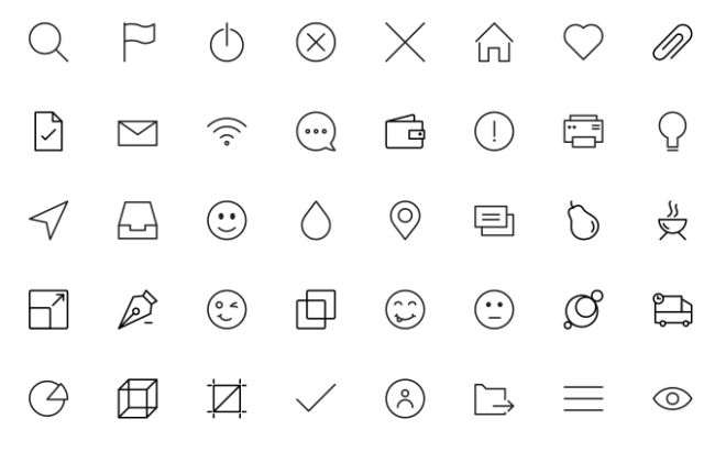40 Pixel Perfect Line Icons Vector