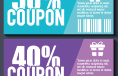 Blue & Purple Coupons Vector