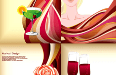 4 Beauty & Wine Vector Illustrations