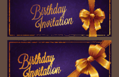 Violet Birthday Invitation Card Vector 01