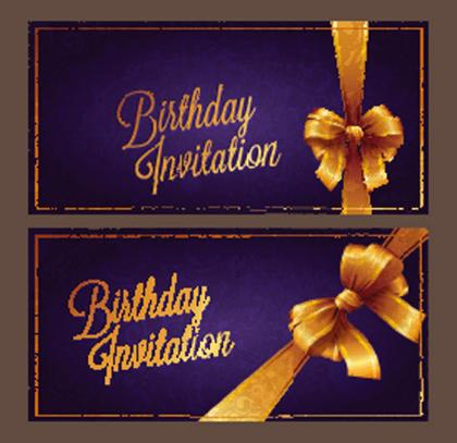 Violet Birthday Invitation Card Vector 01