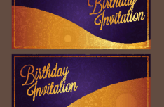 Violet Birthday Invitation Card Vector 02