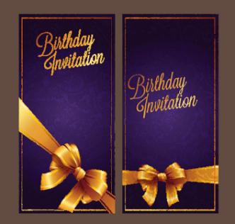 Violet Birthday Invitation Card Vector 03