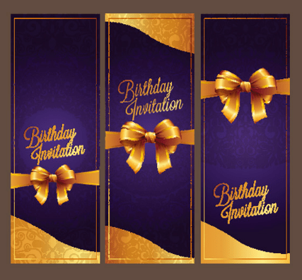 Violet Birthday Invitation Card Vector 07