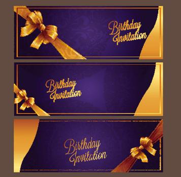 Violet Birthday Invitation Card Vector 08