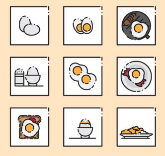 9 Breakfast Icons Vector