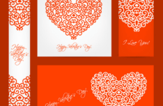 Vintage Red Valentine's Day Design Elements Vector