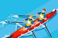 Flat Canoe Rowing Vector Illustraion