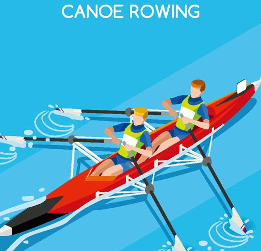 Flat Canoe Rowing Vector Illustraion
