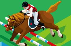 Flat Equestrian Eventing Vector Illustraion