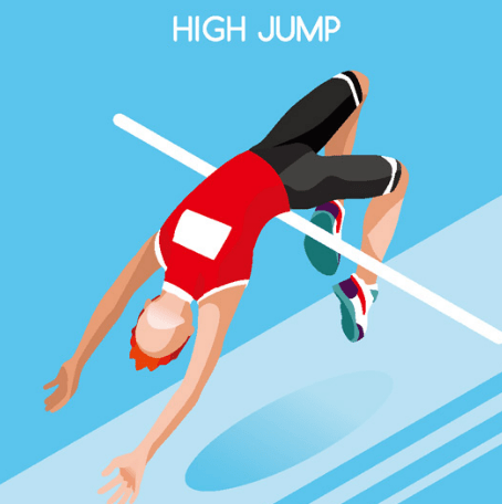 Flat High Jump Vector Illustraion