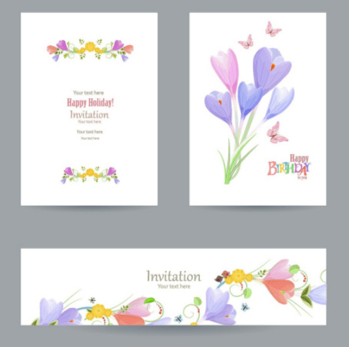 Free flower happy birthday invitation cards banners vector titanui flower happy birthday invitation cards banners vector stopboris Images