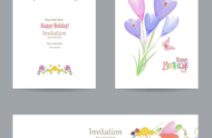 Flower Happy Birthday Invitation Cards & Banners Vector