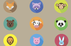 9 Flat Round Animal Icons Vector