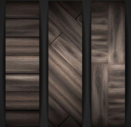 sleek-dark-brown-wooden-banners-vector