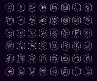48-hexagon-social-icons-vector